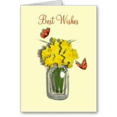 Spring Daffodil Flowers Mason Jar Vase  Greeting Cards.  A beautiful picture of blooming Spring Daffodil flowers in a mason jar vase on a blank card suitable for any occasion or just to send a quick message or thank you, so pretty.