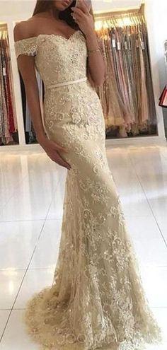 9b4e87d3cb9 Off Shoulder Gold Lace Mermaid Evening Prom Dresses, Fashion Party Prom  Dresses, Custom Long Prom Dresses, Cheap Formal Prom Dresses, 17163