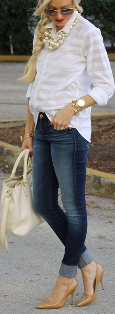 Denim Chic! Skinny medium rinse jeans, nude heels, crisp white shirt, chunky gold & pearl accessories, leather shopper tote.