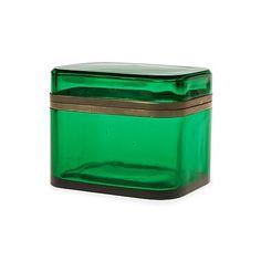 A Josef Frank green glass and pewter box by Svenskt Tenn. Length 14,5 cm, height 12 cm.. - Modern Autumn Sale, Stockholm 575 – Bukowskis