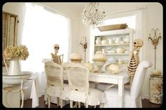 I love this dining room.  It even looks stunning with skeletons as guests.