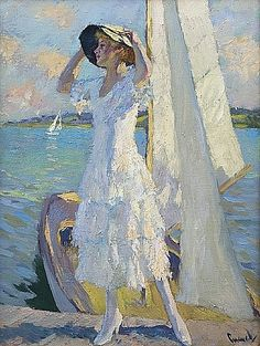 After the Crossing by Edward Cucuel, currently for sale at Willow Gallery THIS PIC REMINDS ME OF MOM... DONT THINK MOM WAS EVER ON A SAILBOAT BUT THE WOMANS HAIR, FACE AND SILLOUTTE LOOK LIKE MOM