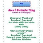 """This song is to the tune of """"Are You Sleeping."""" It will help your kiddos remember the difference between area and perimeter and how to determine ea..."""
