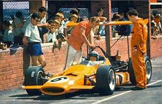 Bruce McLaren - founder of the McLaren Racing Team - at the wheel of his McLaren in 1969 - he was killed when testing his new Can-Am car the next year F1 Racing, Racing Team, Road Racing, Bruce Mclaren, Mclaren F1, Le Mans, Vintage Racing, Vintage Cars, Classic Race Cars