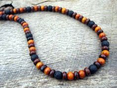 Mens surfer necklace jasper black lava stone door thehappymushroom