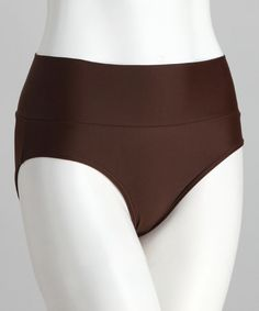 Bikini Bottoms with a little more coverage!  Yay! Cocoa Brown Mid-Rise Banded Bikini Bottoms by Divinita Sole on #zulily today!