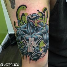 Awesome Venom tattoo from Marvel's Spiderman comics by Chris Curtis.