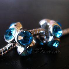 2PCs Turquoise Blue Aquamarine Crystal Rhinestone by xanaducharms, $4.95 #xanadudesigns #pandora #bracelet #march #aquamarine