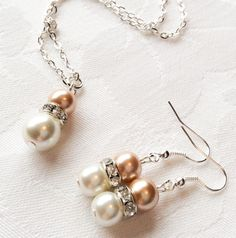 Champagne & Ivory Pearl Jewelry Set Bridesmaid Jewelry Champagne Gold Jewelry Pearl Necklace Bridesmaid Gift Wedding by InfinityByClaire on Etsy https://www.etsy.com/listing/239093176/champagne-ivory-pearl-jewelry-set