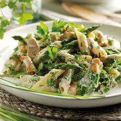 From Handbag.com: Chicken, asparagus and herb pasta with low fat cream cheese -A perfect recipe to use Greek Cream Cheese in place of low fat for more protein!