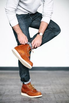 8 - Mens Fashion - Fall Style - Casual Outfit - red wing moc toe