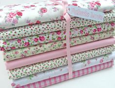 Fat-Quarter-Bundle-8-Pink-Shabby-Chic-Florals-Poly-Cotton-Fabric-Remnants