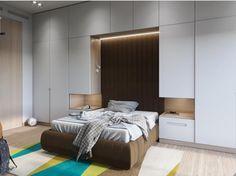 30 Trendy ideas for bedroom bed headboard storage Bed In Closet, Closet Bedroom, Home Bedroom, Bedroom Furniture, Bedroom Decor, Bedrooms, Kitchen Furniture, Master Bedroom, Small Bedroom Wardrobe