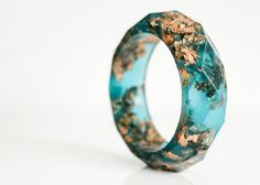 copper aqua multifaceted eco resin bangle with door RosellaResin