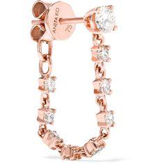 Anita Ko 18-karat rose gold diamond earring ($2,365) ❤ liked on Polyvore featuring jewelry, earrings, rose gold, chain earrings, 18k diamond earrings, druzy earrings, rose gold earrings and drusy earrings