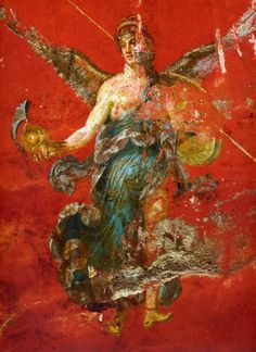 Campania Pompei - Part of a Muse cycle.  Fresco in the Fourth Style from the thermae of the Hospitium dei Sulpici near the Stabian Gate