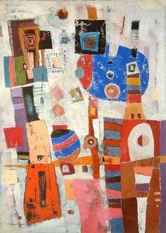 THRU the WINDOW Orig Abstract Painting Peru Fine Art