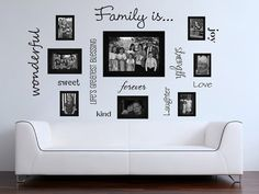 Family words family photo wall vinyl wall decal by GrabersGraphics I have the perfect wall to do this on Vinyl Decor, Vinyl Wall Decals, Family Wall, Family Room, My Home Design, House Design, Home Photo, Home Projects, Home Remodeling