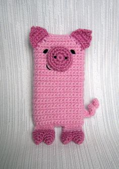 Pink Pig iPhone 5 and 4 case (cozy, sleeve, cover) Crochet PDF Pattern.