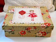Embroidered Box Fabric Covered Boxes, Decoupage Box, Thread Art, Altered Boxes, Crafty Craft, Cross Stitch Embroidery, Decorative Boxes, Paper Crafts, Vintage