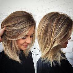 The 10 best medium-length blonde hairstyles shoulder-length hair ideas 2018 Trendy Haircut, Haircut For Thick Hair, Haircuts For Long Hair, Bob Hairstyles, Latest Hairstyles, Bob Haircuts, Haircut Bob, Thin Hair, Layered Hairstyles