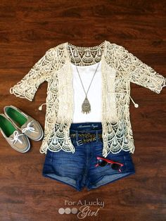 Lace crochet cardigan, jean shorts, boat shoes, red wayfarer sunglasses, casual back to school outfit, boho chic  Get Ready With Me + Video | For A Lucky Girl