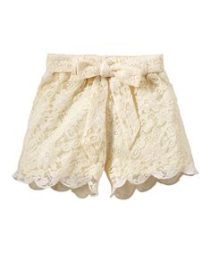 Look what I found on #zulily! Cream Scalloped Lace Shorts - Infant, Toddler & Girls #zulilyfinds