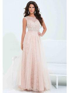 A-line/Princess Bateau Floor-length Chiffon Lace Evening Dress