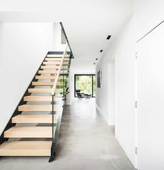Modern Staircase Weybridge was a stair supplier for a refurbishment with beech treads, steel stringers and glass balustrade. Landing balustrade supplied with apron. Farmhouse Stairs, Modern Farmhouse Bathroom, Farmhouse Ideas, Polished Concrete Flooring, Open Staircase, Industrial Flooring, Modern Contemporary Homes, Large Chandeliers, Building A House