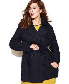 30e89311cb4a0 Via Spiga Plus Size Belted Double-Breasted Pea Coat Women - Coats - Macy s