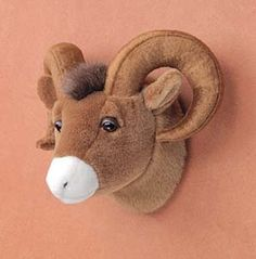 Big Horn Sheep RAM Head Plush Stuffed Animal Toy for sale online Elk Head, Sheep Paintings, Big Horn Sheep, Wood Trunk, Faux Taxidermy, Baby Boy Rooms, Baby Room, Animal Heads, Bow Hunting