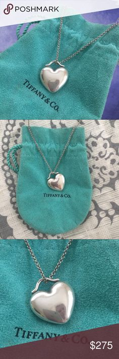 """EUC Tiffany & Co. Heart Sterling Silver Necklace FINAL Sale Price ends at Midnight PST ‼️ For 🇱🇷 MDW.  Rare and discounted item by Tiffany & Co. Heart-Shaped pendant. Sterling Silver. 16"""" length chain. Lobster clasp closure. Approx size of a penny. This comes with the original pouch.  Don't have paperwork since it was given as a gift. Tiffany & Co. Jewelry Necklaces"""