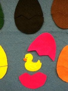 Baby duck are you in the (color) egg guessing game. Also love the peeking song
