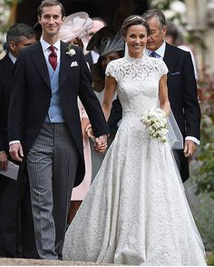 Pippa Middleton's timeless lace gown and pearl-dot veil was perfection ���� Did you catch the key-hole back? http://gelinshop.com/ipost/1519229600608549038/?code=BUVY0XEh_iu