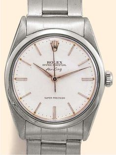 """La Cote des Montres : Enchères Rolex, Oyster Perpetual """"Air-King"""", Super Precision, Ref. 5504. Produced in the 1950's. Fine, center-seconds, self-winding, water-resistant, stainless steel gentleman's wristwatch with a stainless steel Oyster bracelet."""