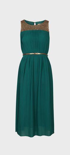 Teal Sequin Bechet Midi Dress
