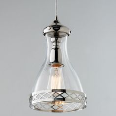 This Highland Park pendant mixes a shapely clear glass shade with detailed metalwork in polished nickel. watt medium base bulb of cord included. Kitchen Lighting Fixtures, Kitchen Pendant Lighting, Kitchen Pendants, Light Fixtures, Lights Over Island, Island Pendant Lights, Mini Pendant Lights, Glass Pendant Shades, Glass Pendant Light