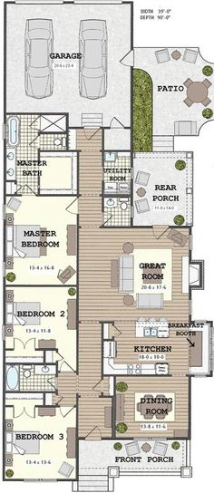 Top 19 Photos Ideas For Single Storey Bungalow At Excellent Long Narrow House With Possible Open Floor Plan The Home Best House Plans, Dream House Plans, House Floor Plans, Dog Trot House Plans, Loft Floor Plans, The Plan, How To Plan, Narrow House Plans, Shotgun House