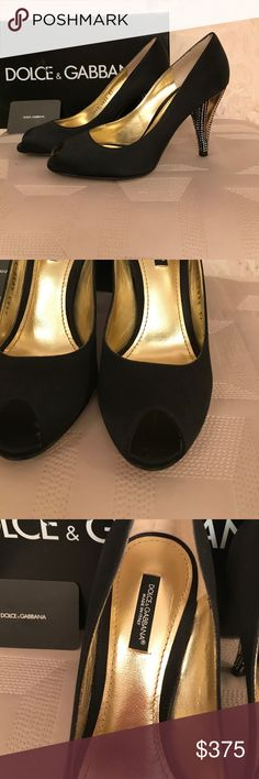 "NWT Dolce & Gabbana black satin pumps size 37(7) NWT Dolce & Gabbana black satin pumps size 37(7). Heels 3.5"" decorations with stones. Open toe. Box included. No trade. Dolce & Gabbana Shoes Heels"