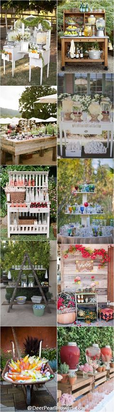 rustic wedding drink station decor ideas…