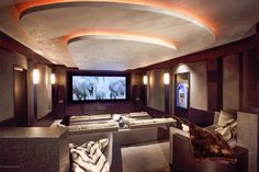 An unbelievably luxurious home theater with unique lighting and comfortable movie theater style seating. Aspen, CO Coldwell Banker Mason Morse Real Estate $13,950,000