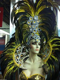 Showgirl Drag Carnival Feather Backpiece Headdress
