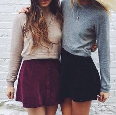 best friends, bff, fashion, friends, friendship, hair, hipster, indie, necklace, ootd, outfit, skirt, sweater weather