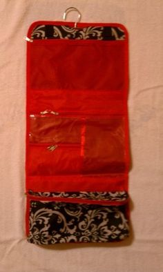 Damask with Red Trim Cosmetic / Toiletry Case by Toiletry Bags. $12.19