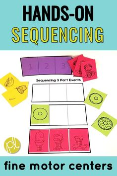 Add sequencing 3-part events with fine motor development! These literacy centers feature 67 hands-on tasks plus writing papers to use all year long. I used these in my Guided Reading intervention groups to support my students with OT and speech and language goals. #speechcenters #finemotorskills