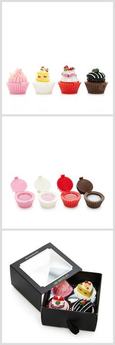 Cute Cupcake Lip Gloss Set - Perfect stocking stuffers/ gift for her, beauty or makeup lovers.