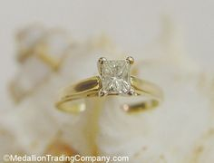 Stunning 14k .38 Carat Princess Cut Cathedral Solitaire Diamond Engagement Ring #Solitaire