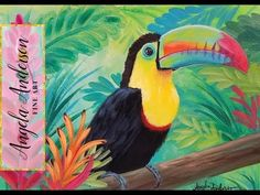 Acrylic Painting Rainbow TOUCAN Live Step by Step JUNGLE Tutorial #Angelooney - YouTube