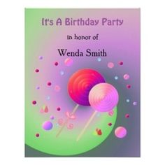 Candy and Lollipops Birthday Party Invitation #candy #lollipops