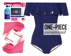 """Ruffled swimwear"" by blueberrylexie ❤ liked on Polyvore featuring Lisa Marie Fernandez, Charlotte Olympia, Sephora Collection, Essie, Smashbox, Oscar de la Renta, Cara, Kate Spade, Korres and ruffledswimwear"